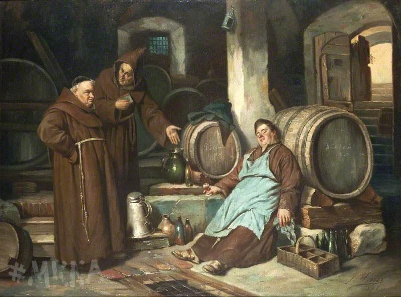 Viduramžių vienuoliai alaus rusyje. Autorius Joseph Haier 1873